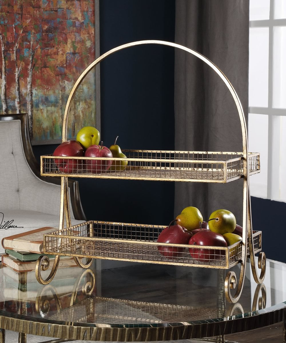 "25""H Callen Wire Shelved Fruit Basket"