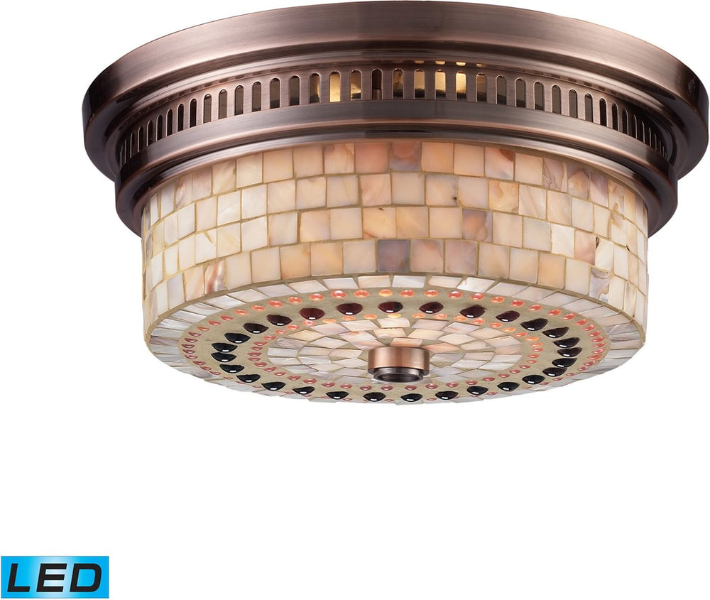 "13""W Chadwick 2-Light LED Flushmount Antique Copper/Cappa Shells"