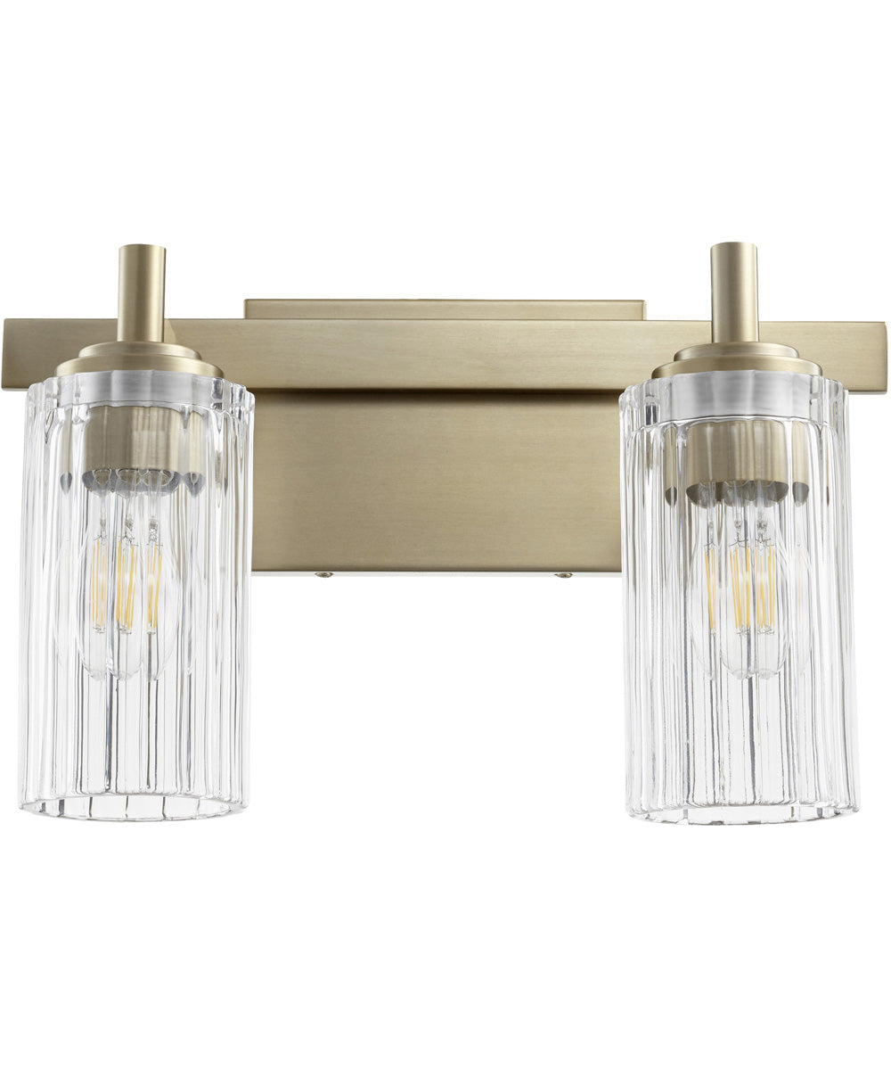 "9""W 2-light Bath Vanity Light Aged Brass"