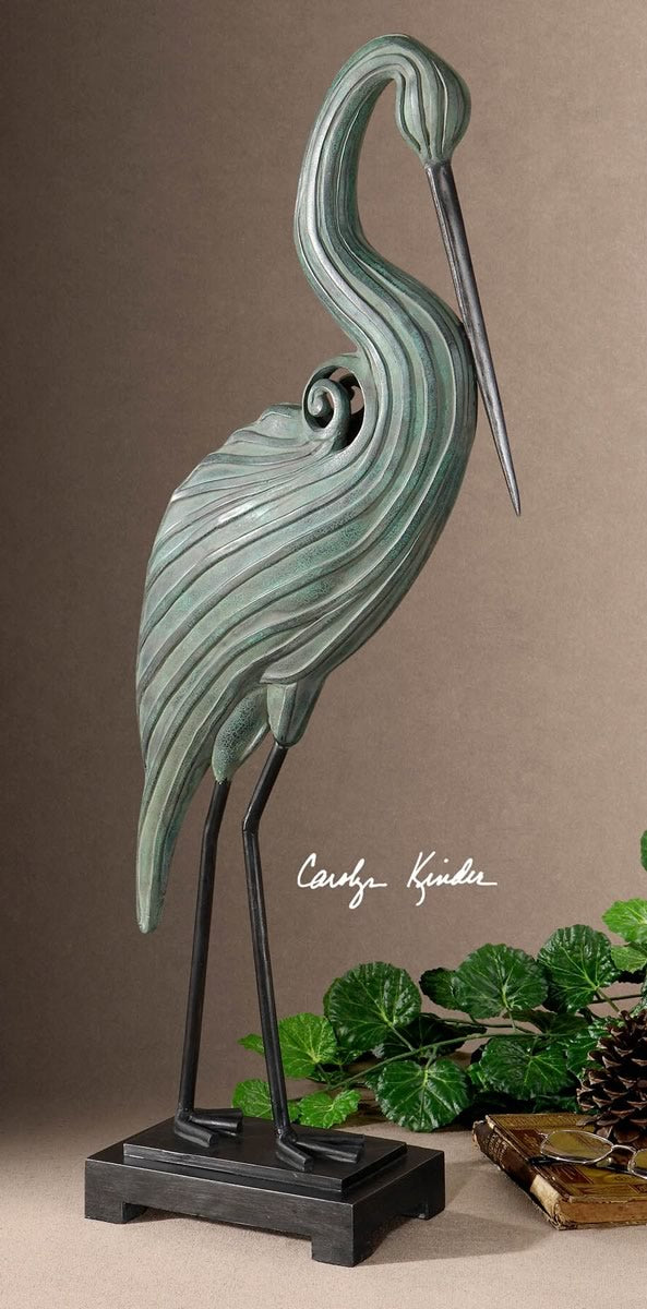 "31""H Keanu Blue-Green Heron Sculpture"
