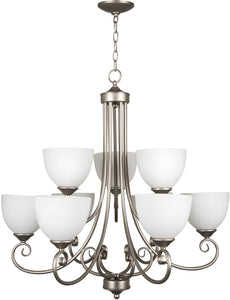 0-005615>Raleigh 9-Light Chandelier Satin Nickel