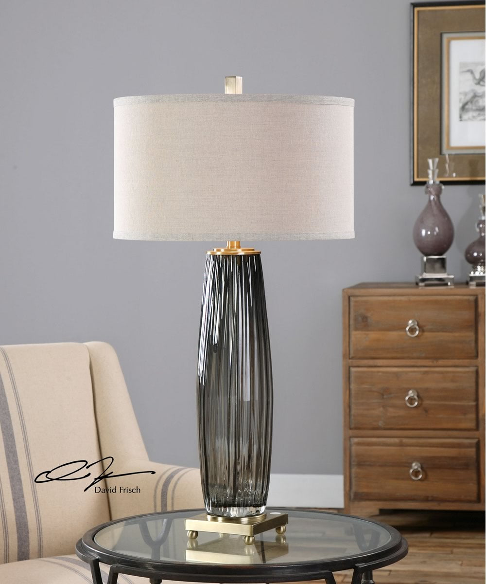 "33""H Vilminore Gray Glass Table Lamp"