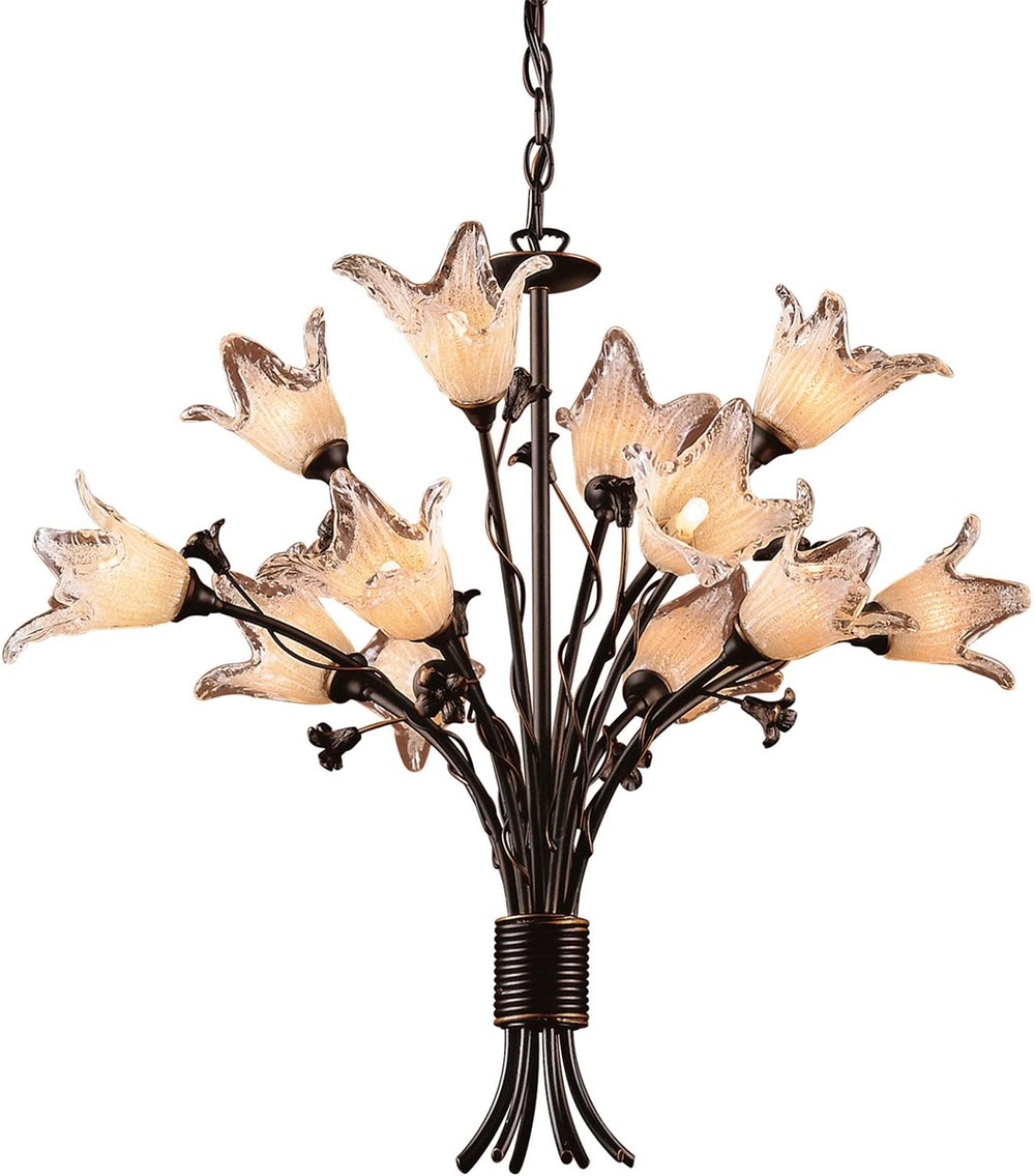 "29""W Fioritura 12-Light Chandelier Deep Rust/Crystal Droplets"