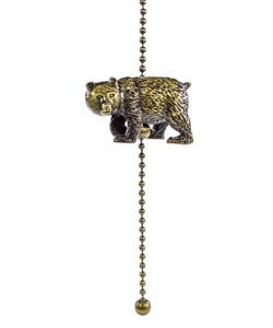 0-012606>Walking Bear Fan Pull Antique Metal