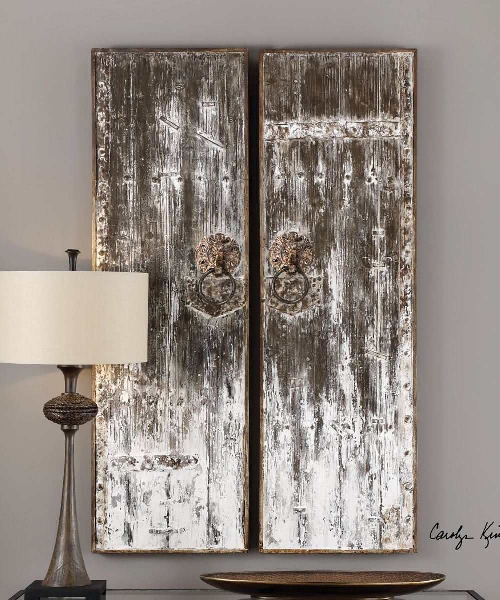 "60""H x 19""W Giles Aged Wood Wall Art Set of 2"