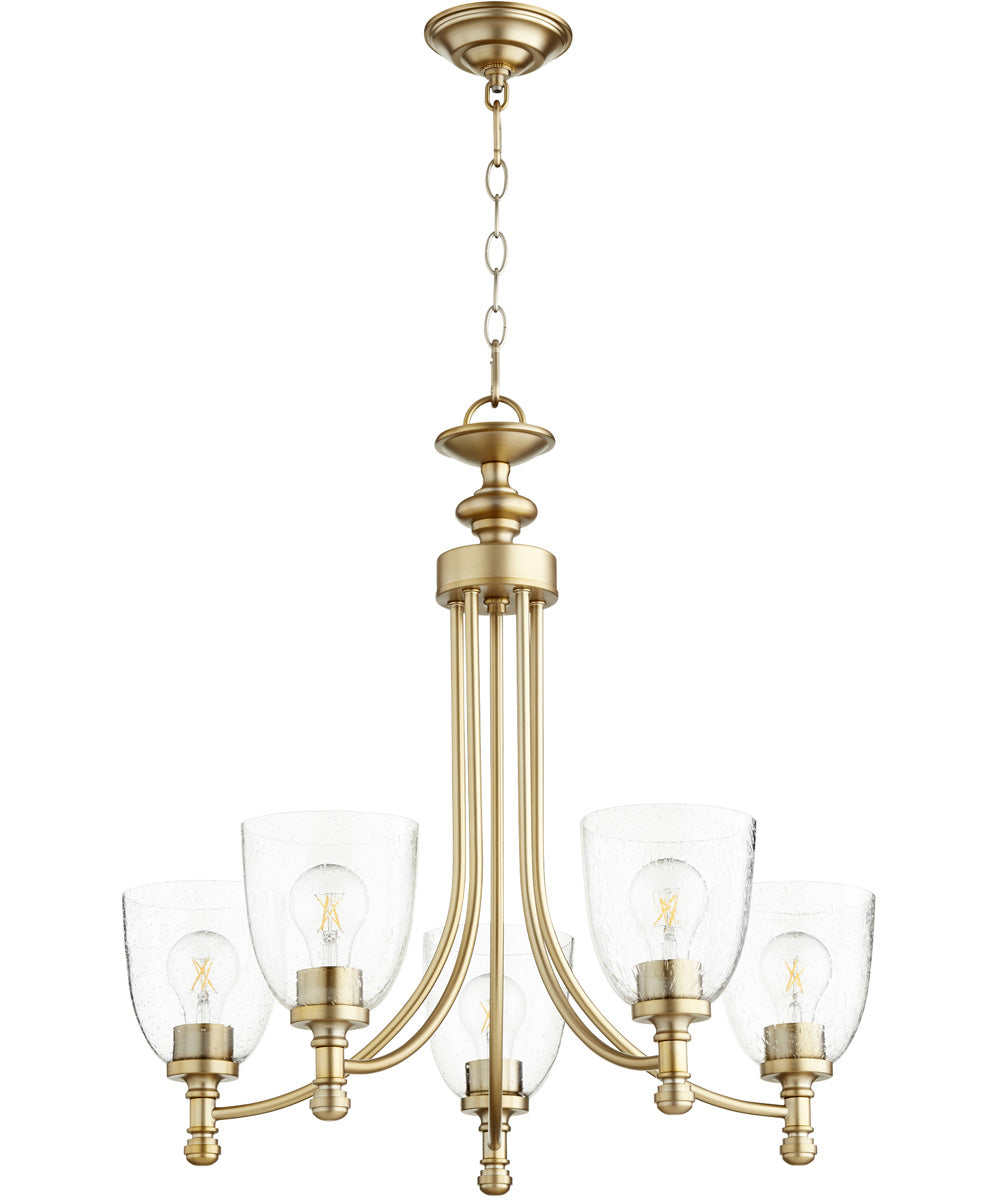 "25""W Rossington 5-light Chandelier Aged Brass w/ Clear/Seeded"