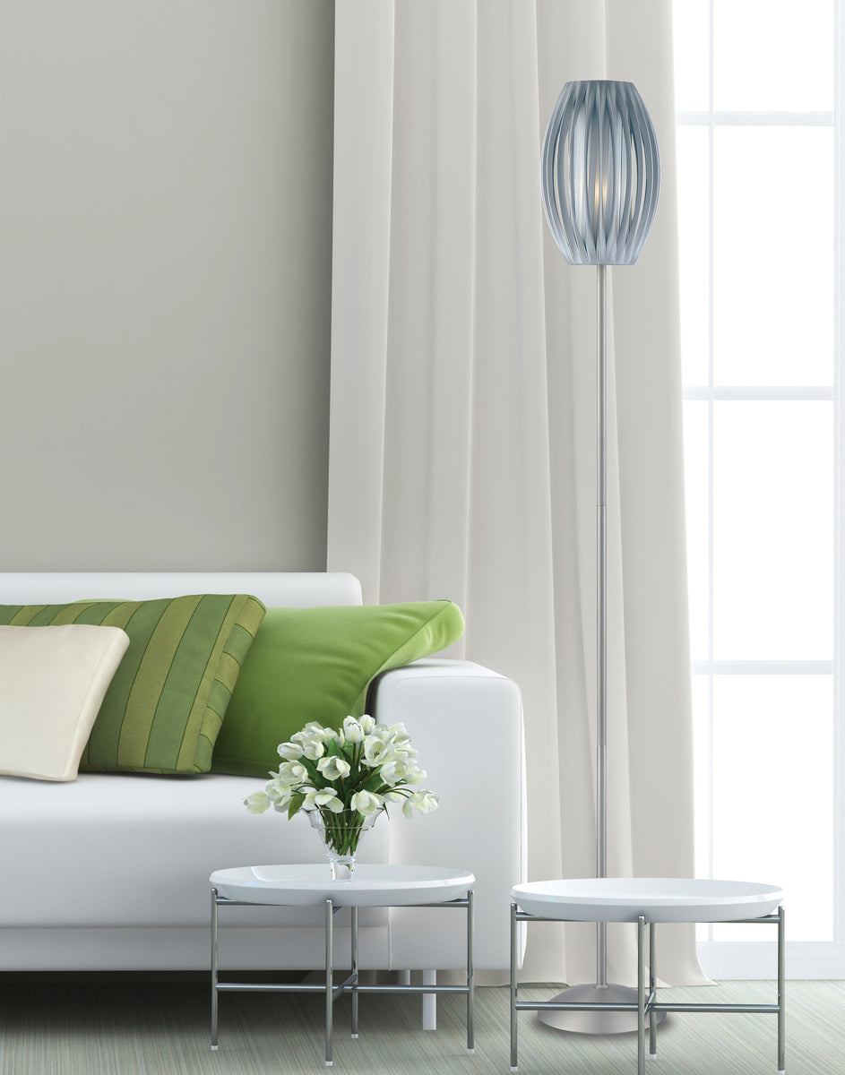 "70""H Egg 1-light Floor Lamp Satin Steel"