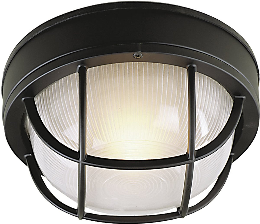 Bulkhead 1-Light Outdoor Flush Mount Matte Black
