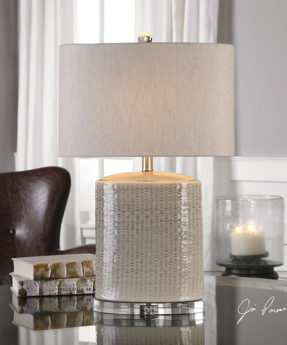 "26""H Modica Taupe Ceramic Lamp"