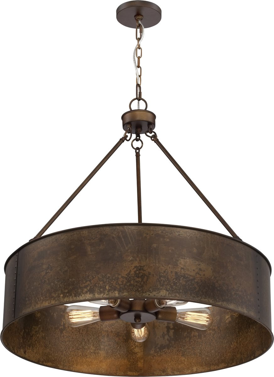 "30""W Kettle 5-Light Pendant Weathered Brass"