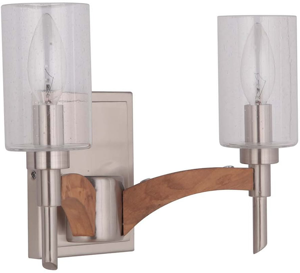 "12""W Tahoe 2-Light Bath Vanity Light Brushed Nickel/Whiskey Barrel"