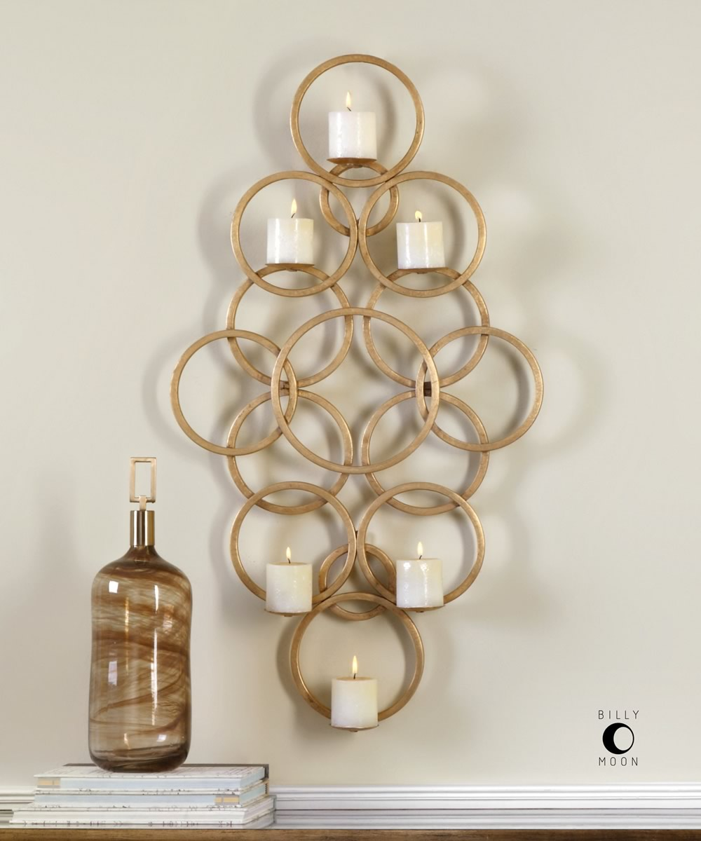 "3""H x 24""W Coree Gold Rings Wall Sconce"