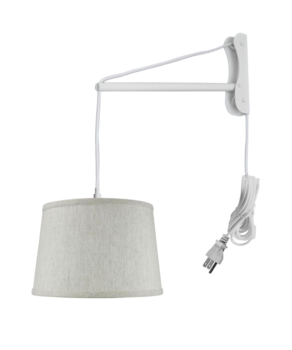 "12""W MAST Plug-In Wall Mount Pendant 1 Light White Cord/Arm Textured Shallow Drum Shade"