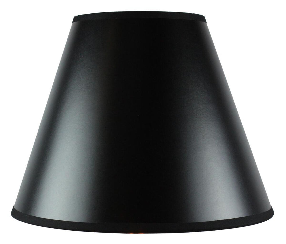 "18""W x 12""H Bold Black with True Gold Lining Hard Back Empire Lampshade"