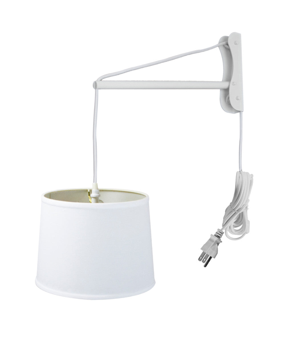 MAST Plug-In Wall Mount Pendant, 1 Light White Cord/Arm, White Shade 12x14x10