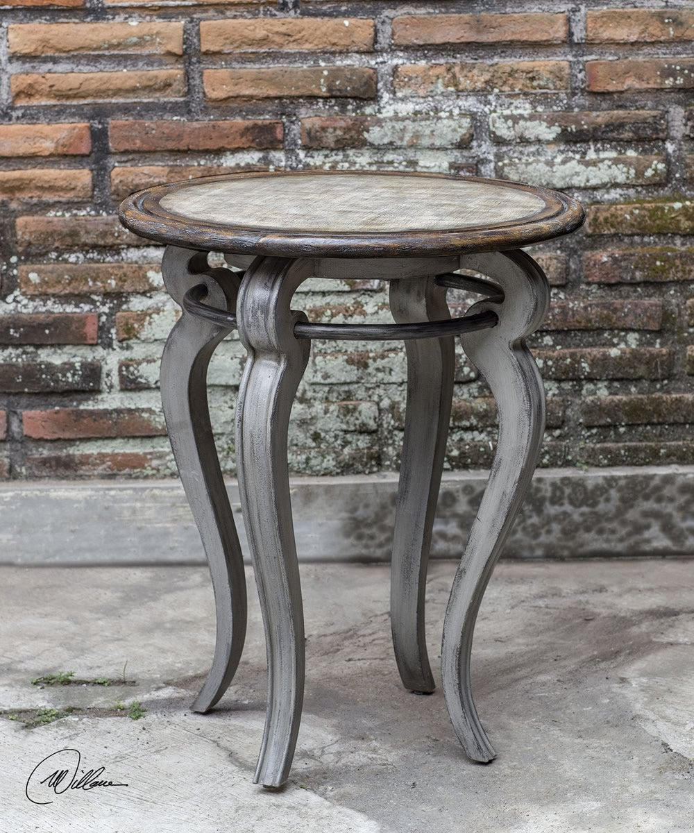 "26""H Mariah Round Gray Accent Table"