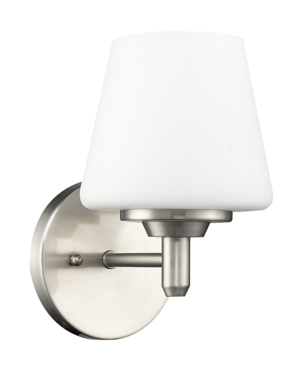 "6""W Paige 1-Light Satin Nickel Sconce With Frosted Glass Shade"