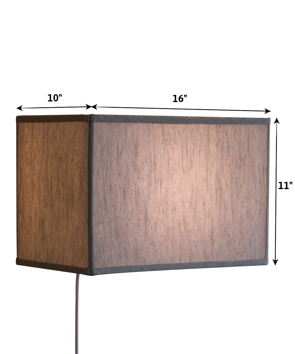 "16""W Floating Shade Plug-In Wall Light Textured Oatmeal"