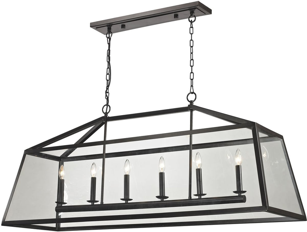 "17""W Alanna 6-Light Pendant Oil Rubbed Bronze/Clear Glass"