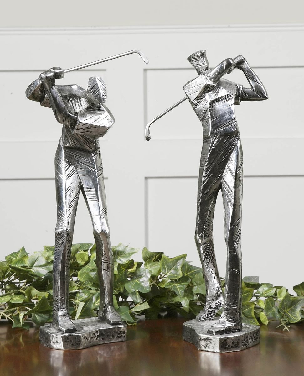 "16""H Practice Shot Metallic Statues Set of 2"
