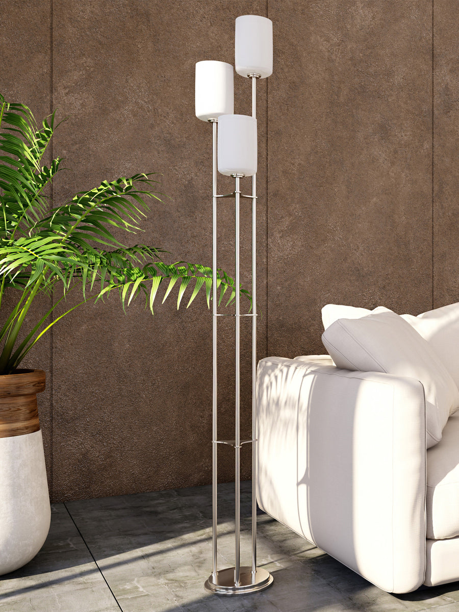 Bess 3-Light Floor Lamp Brushed Nickel