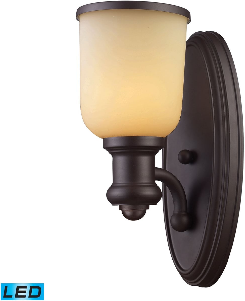 "5""W Brooksdale 1-Light LED Wall Sconce Oiled Bronze/Amber Glass"
