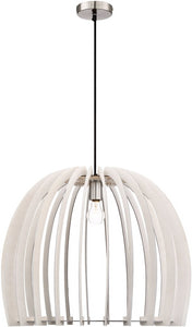 0-002980>Wood 1-Light  Pendant  White