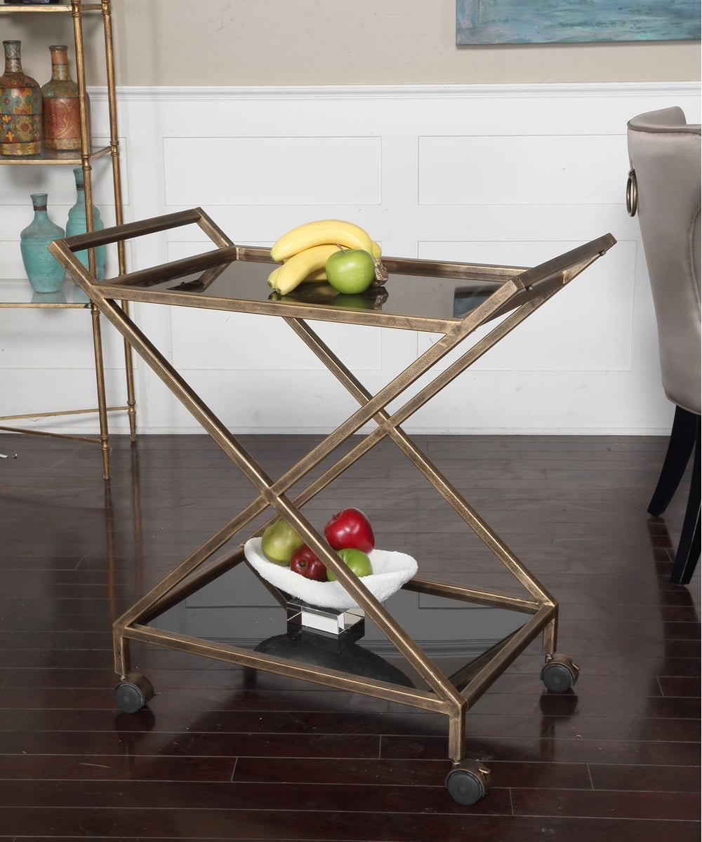 "31""H Zafina Gold Bar Cart"