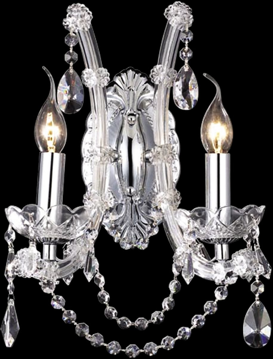 OPEN BOX 11w 2-Light Crystal Wall Sconce Polished Chrome
