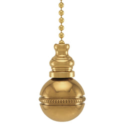 Polished Brass Beaded Ball Fan Pull