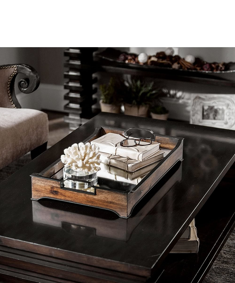 "4""H Sylvie Mirror And Wood Tray"