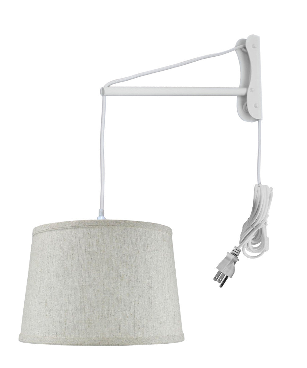 "16""W MAST Plug-In Wall Mount Pendant 1 Light White Cord/Arm Shallow Drum Textured Oatmeal"