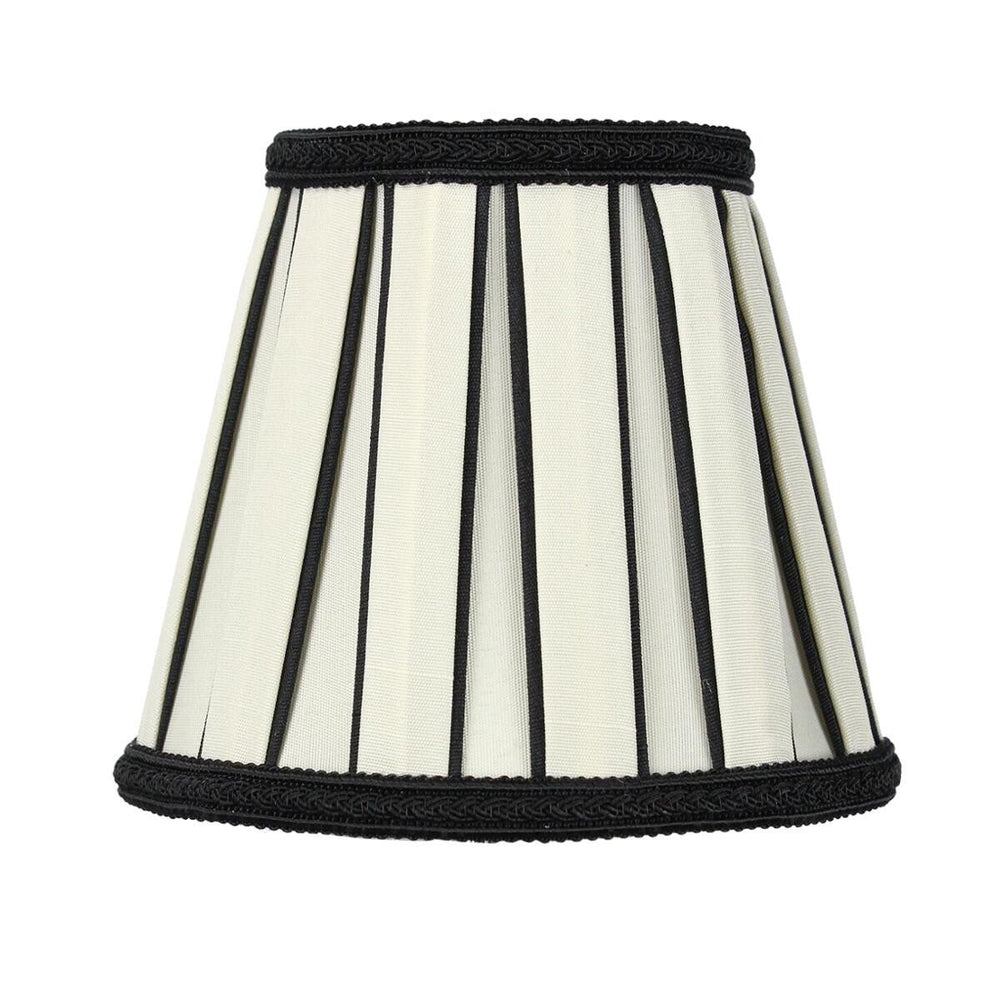 "5""W x 5""H Set of 6 Eggshell with Black Chandelier Clip-On Lampshade"
