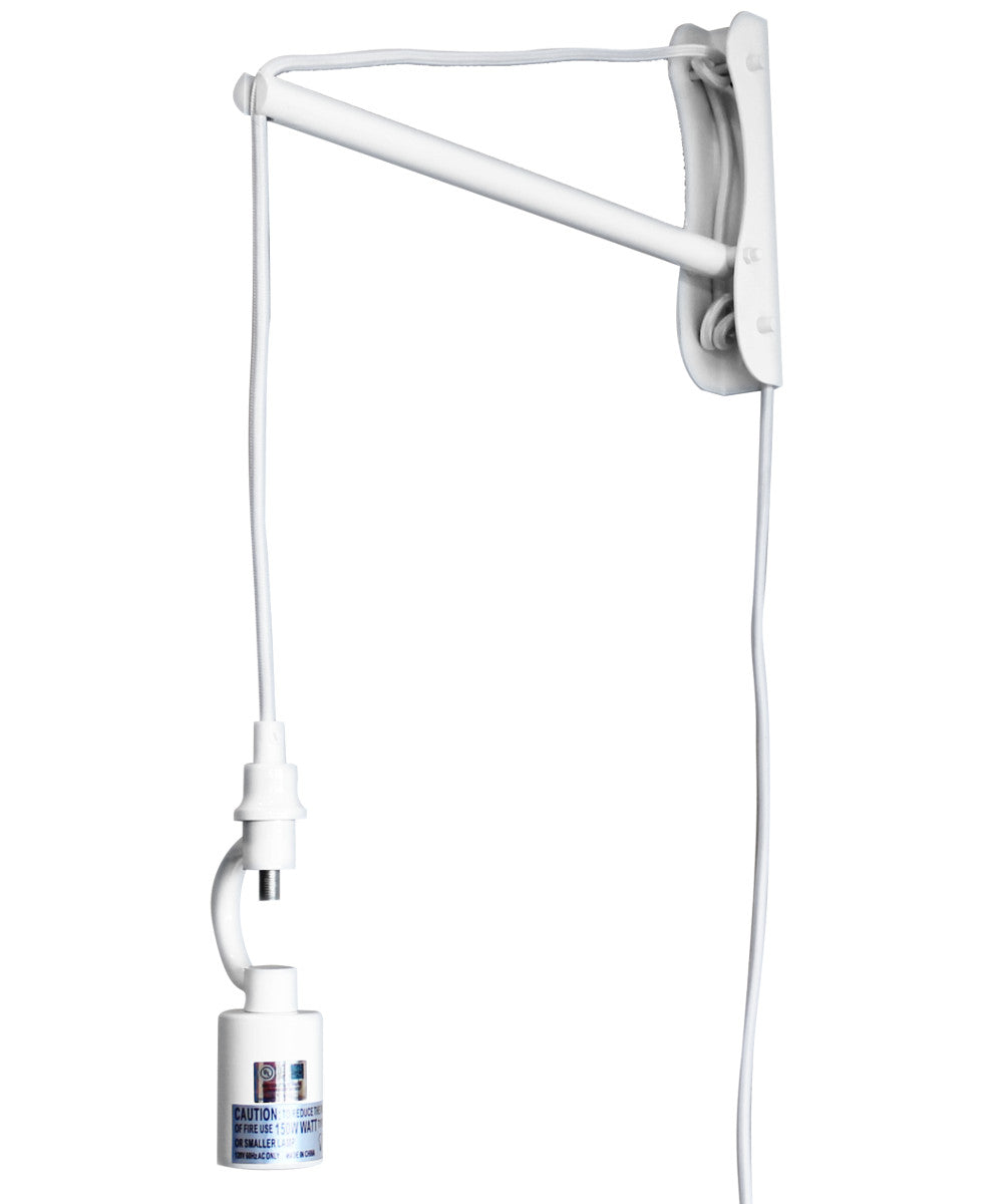 "8""W The MAST 1 Light Wall Arm Converts Your Lampshade to a Wall Pendant White"