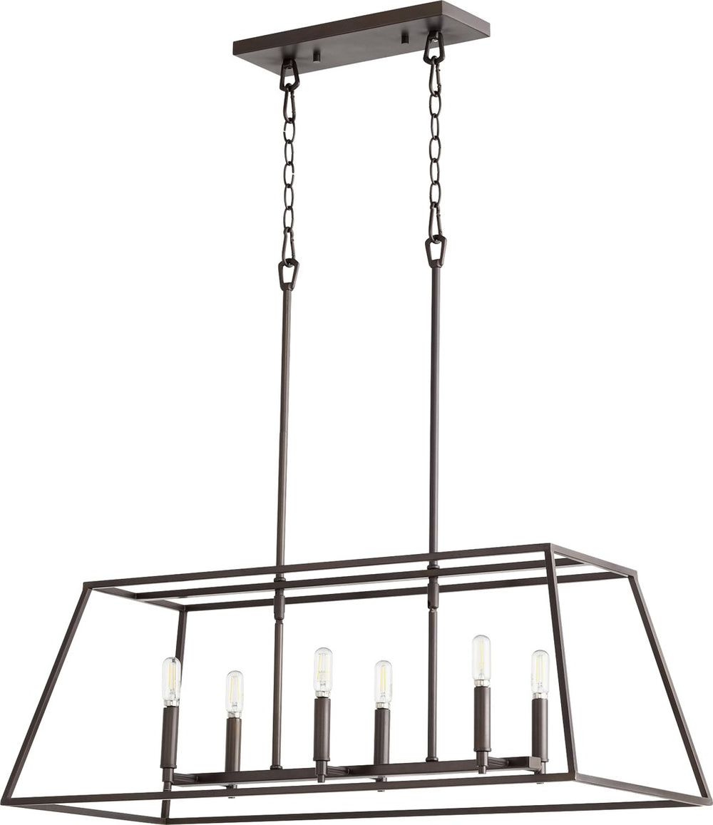 "35""W Gabriel 6-light Entry Foyer Hall Chandelier Oiled Bronze"