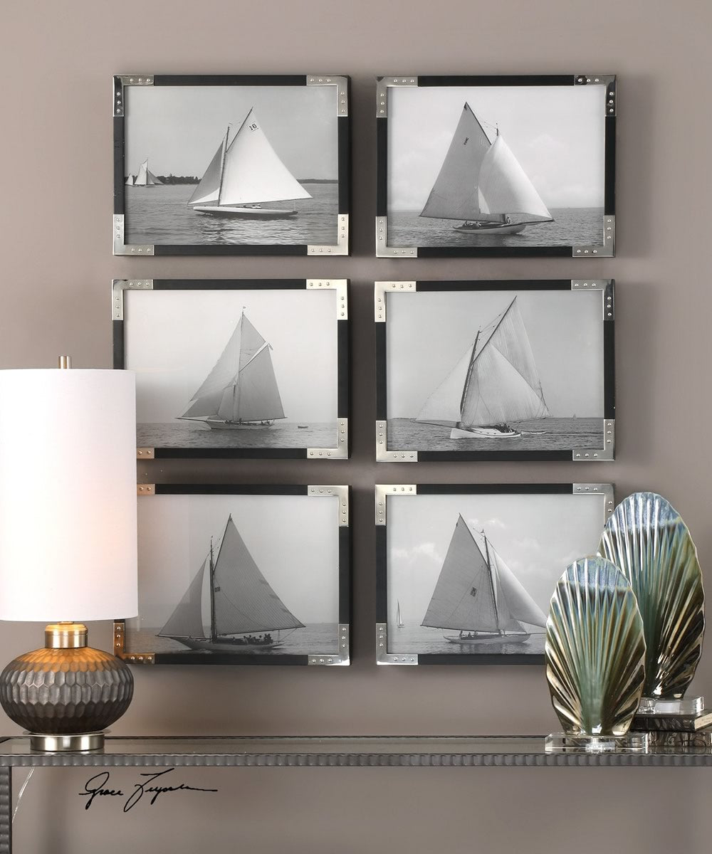 "13""H x 17""W Sailboats Prints Set of 6"