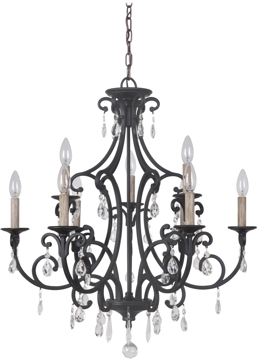 Bentley 9-Light Chandelier Matte Black