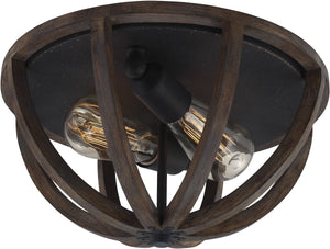"13""W Allier 2-Light Flush Mount Weather Oak Wood / Antique Forged Iron"