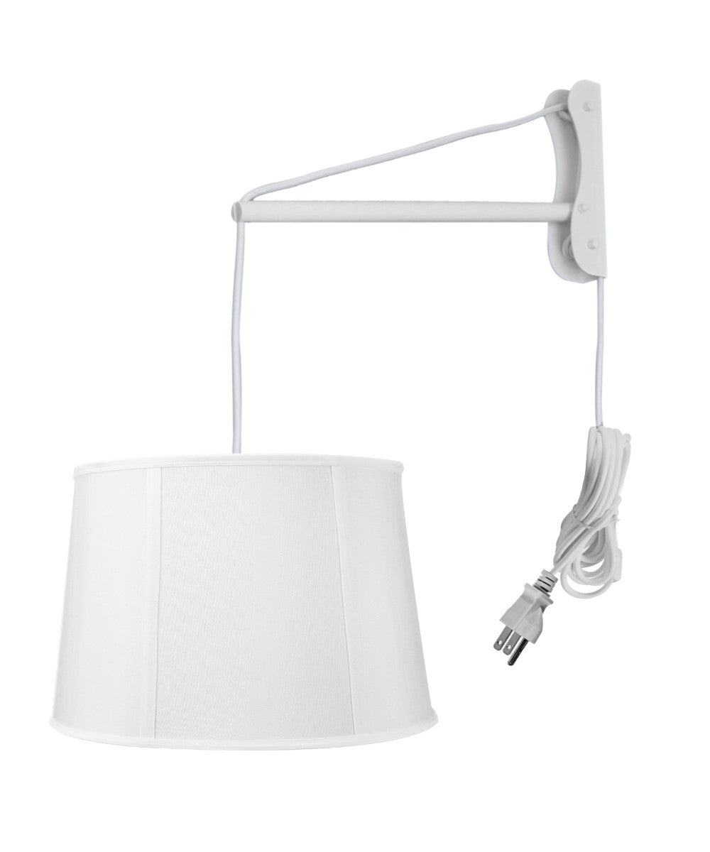"12""W MAST Plug-In Wall Mount Pendant 1 Light White Cord/Arm Drum White Shade"