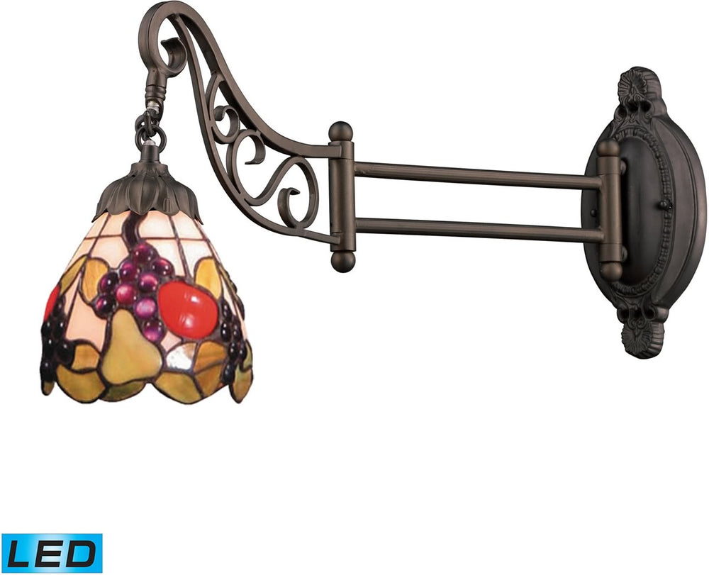 "7""W Mix-N-Match 1-Light LED Swingarm Tiffany Bronze/Multicolor Glass"