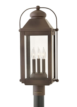 "24""H Anchorage 3-Light Outdoor Pier Post Light in Light Oiled Bronze"