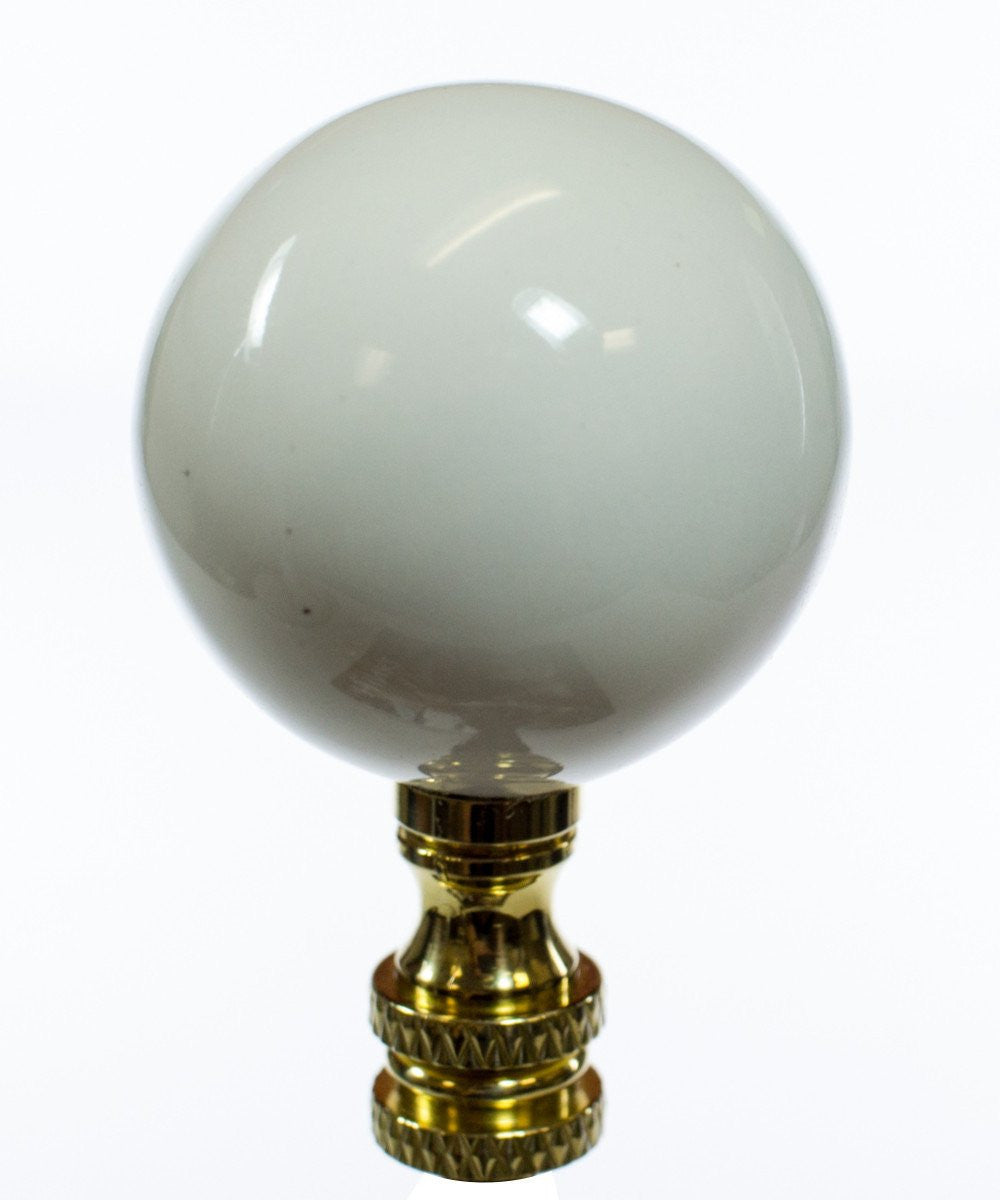 "2""H White Ceramic Ball Finial"