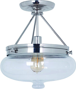 0-013990>Yorktown 1-Light Semi Flush Polished Nickel