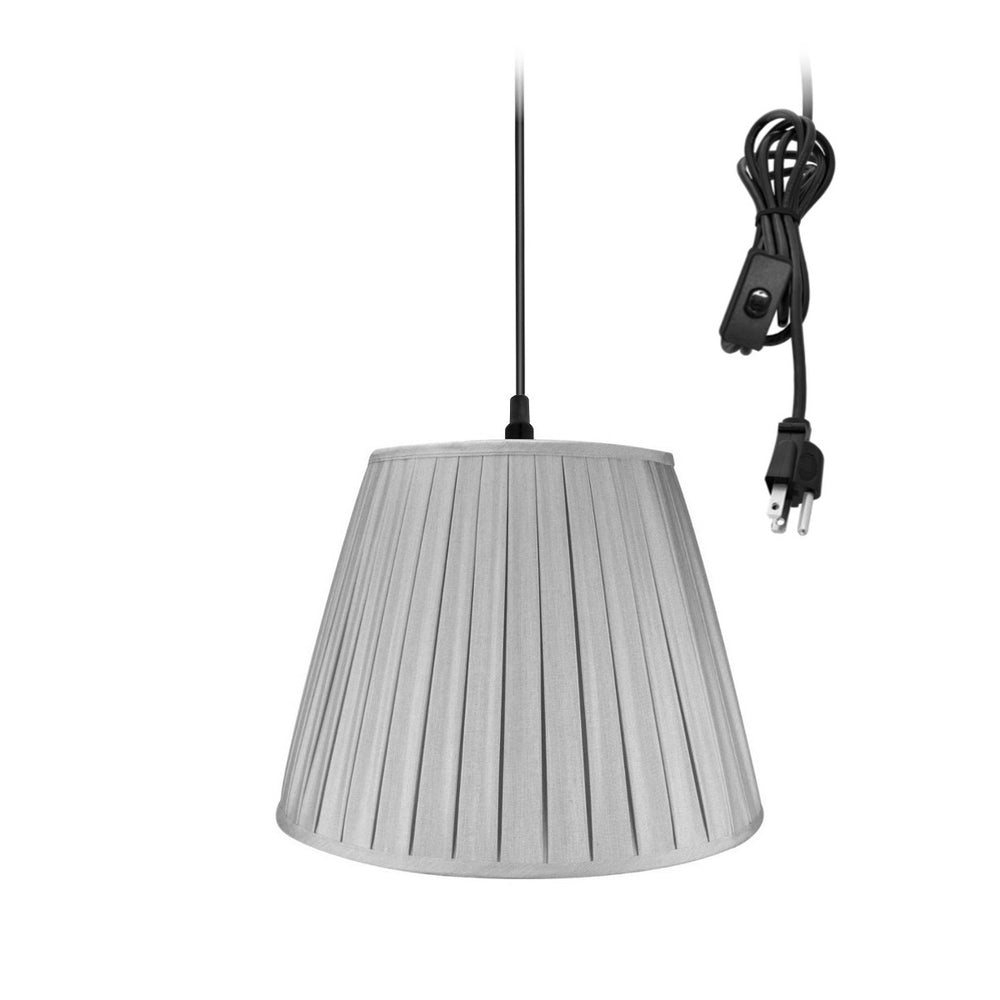 "18""W 1-Light Plug-In Swag Pendant Lamp Gray"