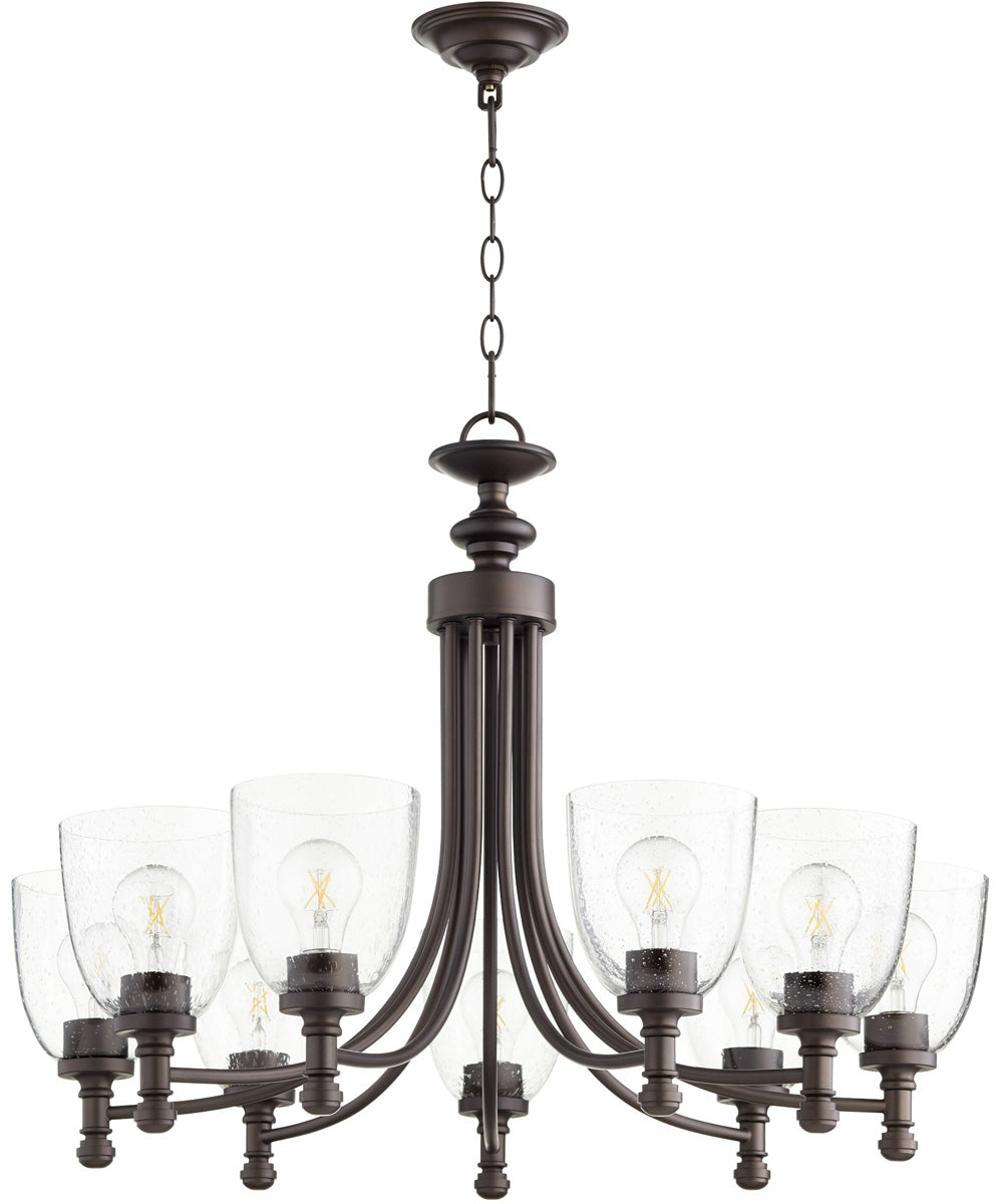 "31""W Rossington 9-light Chandelier Oiled Bronze w/ Clear/Seeded"