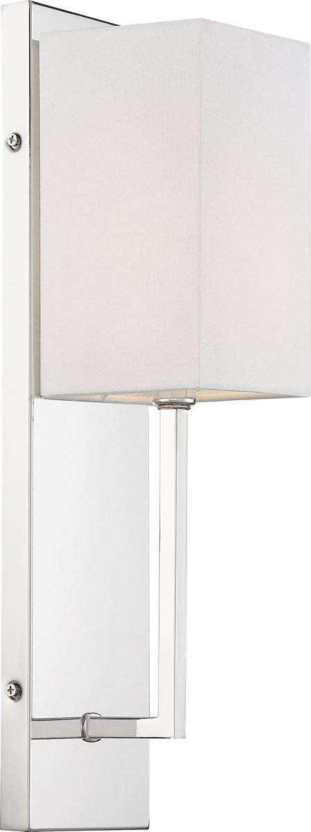 "5""W Vesey 1-Light Vanity & Wall Polished Nickel / White Fabric"