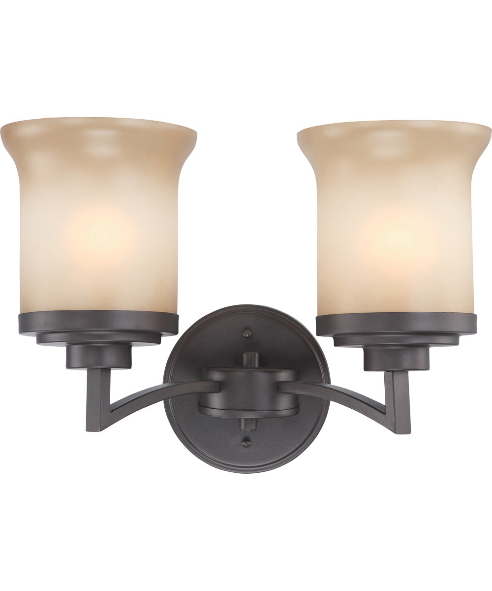 "14""W Harmony 2-Light Vanity & Wall Dark Chocolate Bronze"