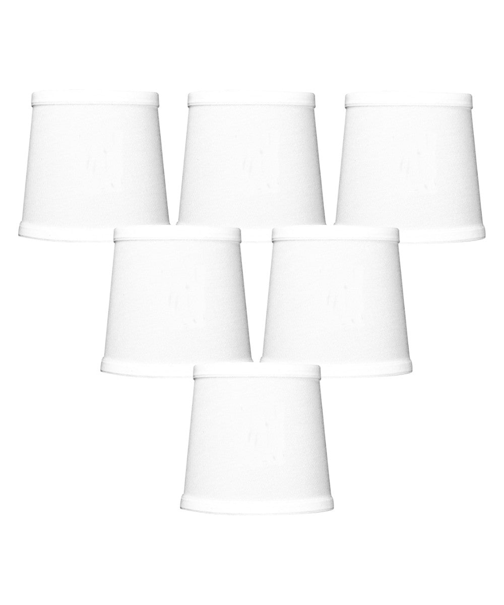 "6""W x 5""H Set of 6 White Linen Drum Chandelier Clip-On Lampshade"