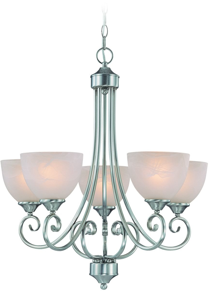 "24""W Raleigh 5-Light Chandelier Satin Nickel"