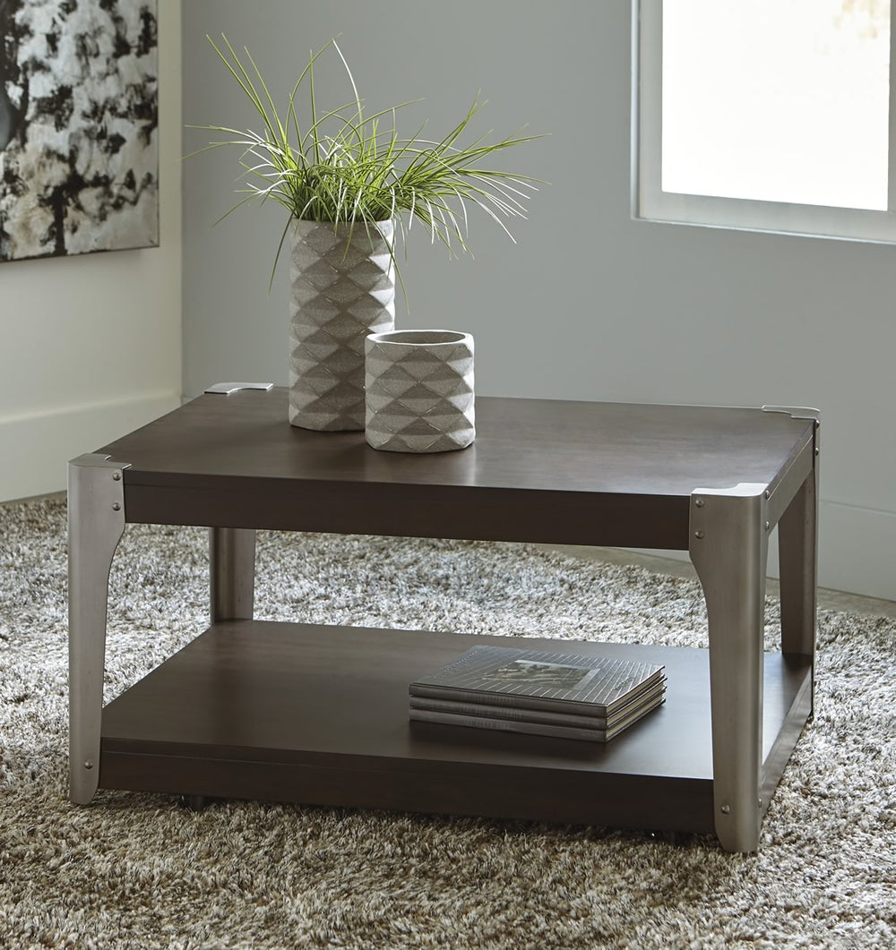 "19""H Geriville Rectangular Cocktail Table Brown"